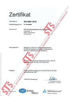 Zertifikat ISO 90012015