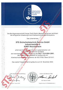 Zertifikat Arbeitsschutz Management System